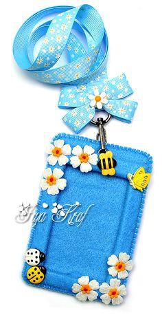 No sew lanyard and card holders camp ideas pinterest craft blue felt id card holder id badge holderscard holdersdiy solutioingenieria Gallery