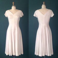 White wedding dress- Simple wedding dress- Courthouse wedding- Linen wedding dress-Summer wedding dress-White cocktail dress-50s dress