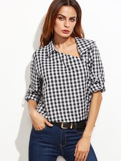 Black Gingham Asymmetric Buttoned Collar Blouse — € --------color: Black and White size: L,M,S,XS Collar Blouse, Collar Shirts, Leather Midi Skirt, Black And White Tops, Budget Fashion, Top Pattern, Wearing Black, Gingham, Clothes For Women