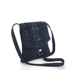 Small crossbody bag , Recycled jean messenger bag , Travel purse Side bag Denim sling purse  Upcycled shoulder purse  Cross body bag