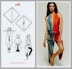e627caae4d45 annodare due foulard carrè hermes e creare un vestito Nodi Sciarpa, Sciarpe  Di Seta,