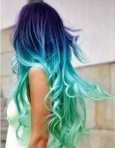 Risultati immagini per capelli colorati sfumati Capelli Verdi, Verdazzurro,  Aqua Blue, Capelli Verde