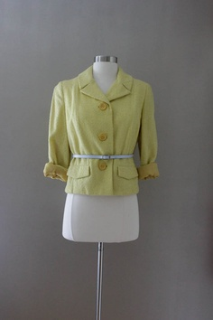Yellow Cropper Wool Blazer  Boucle Designer by SalvatoCollection, $57.00
