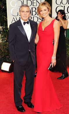 George Clooney in Giorgio Armani and Stacy Kiebler in Valentino (Golden Globes)