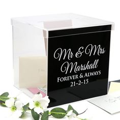 Personalised Gloss Black Acrylic Printed Wedding Wishing Well - Wedding Decor - Card Box Personalized Wedding, Personalized Gifts, Wishing Well Wedding, Wedding Table, Wedding Day, Free Pen, Gift Table, Pen Sets, Free Wedding