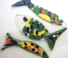 peixinhos em vidro para confecção de trabalhos decorativos, artesanais, mosaicos, composição de caixas, painéis etc.
