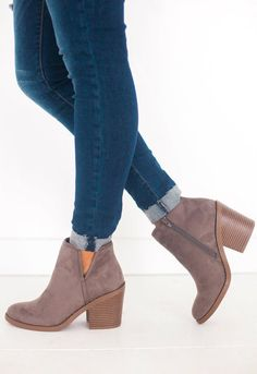 9fccd160ab5 Kira Stacked Heel Bootie Charcoal