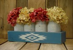 Aztec Mason Jar Box Pint Mason Jars Rustic By PineknobsAndCrickets