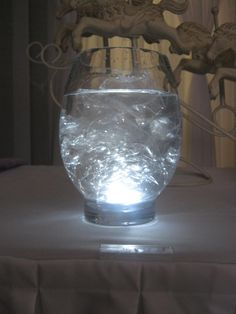 Submersible LED, cellophane & water. This looks like ice in the water, very effective!