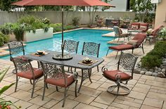 The Rochester Dining Set Features Fade Resistant Phifer Fabrics And A Strong Cast Aluminum Frame