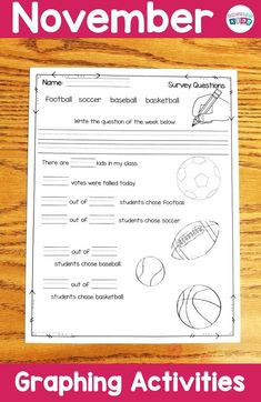 Sports themed graphing activities and worksheets. Kindergarten Activities, Learning Activities, Teaching Ideas, Graphing Activities, Hands On Activities, Teacher Created Resources, Teacher Resources, Survey Questions, Hands On Learning