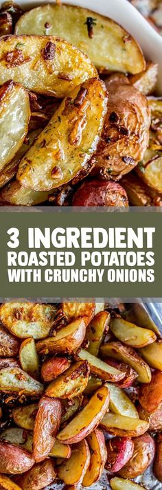 3 Ingredient Roasted Potatoes with Crunchy Onions~What a great change for a potato side dish. Onion Recipes, Vegetable Recipes, Vegetarian Recipes, Cooking Recipes, Potato Recipes, Veggie Food, Cooking Tips, Cooking Classes, Vegan Vegetarian