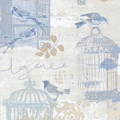 """Norwall Wallcoverings Inc Kitchen Elements 32.7' x 20.5"""" Victorian Birdcage Wallpaper Color:"""