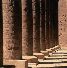 Edfu (also: Idfu, Upper Egypt) Temple of Edfu, also: Temple of Horus, built 237 – 157 BC).  Courtyard colonnade.