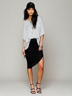 Free People Jersey Asymmetrical Drape Skirt