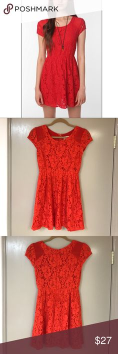 Urban Outfitters Red Lace Dress 💋 Urban Outfitters Red Lace Dress, Coincidence and Chance. So cute and flowy this red lass dress is an absolute must for your closet 🎀 Urban Outfitters Dresses