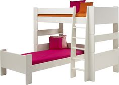 Steens For Kids High Sleeper and Single Bed in Solid Plain White