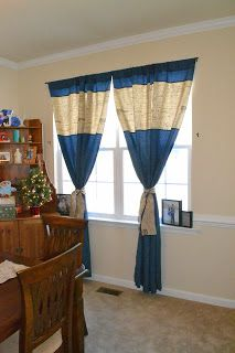 Do-It-Yourself Danielle: Dining Room Curtains and Burlap Table Runner Using a Serger. LOVE these!