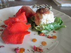 FORNELLI IN FIAMME: ROBIOLA WITH ROSE JAM LAVENDER AND SMOKED SALMON S...