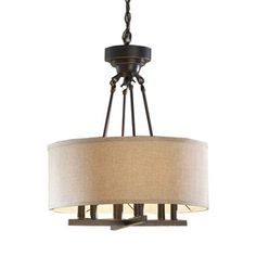 "allen + roth 20"" Oil-Rubbed Bronze Pendant Light with Fabric Shade to replace the weirdo ceiling fan in the kitchen"