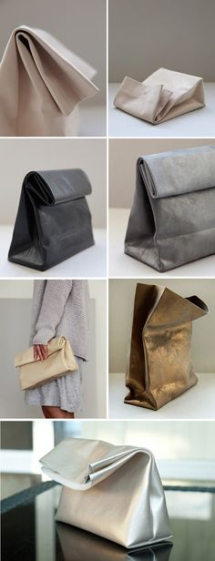 Leather paper bag clutches really caught my attention lately it brings me back to my childhood memories when my mom use to pack my lunch...