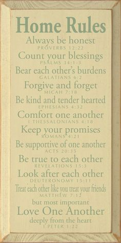 Home Rules - Always be honest - Proverbs 12:22. Count your blessings - Psalms 34:1-3. Bear each other's burdens - Galatians 6:2. Forgive and forget - Micah 7:18. Be kind and tender hearted - Ephesians 4:32. Comfort one another - 1 Thessalonians 4:18.