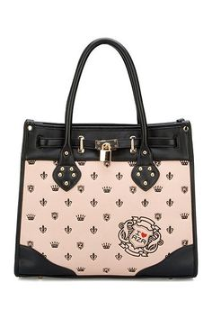 Contrast color handbag, featuring the gold-tone cross lock closure, graffiti to the front with zip back pocket, metal rivets fastening to the jiont parts of the top twin handles.