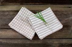 Linen Napkin set - cloth napkins - natural napkin - wedding napkins - table napkins - dinner napkins - striped napkins - gingham napkins by LinumStudio on Etsy https://www.etsy.com/listing/97143413/linen-napkin-set-cloth-napkins-natural