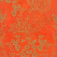 Silk Screened Lokta Paper - Tibet Garden, Gold on Orange Japanese Paper, Japanese Fabric, Oriental Design, Repeating Patterns, Origami, Textiles, Crafty, Purses, Tibet