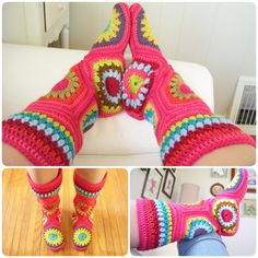 Crochet Hexagon Slipper Boots with Pattern