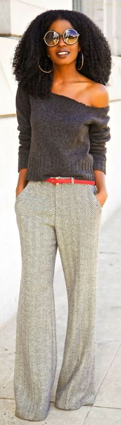 ##DIY Off #Shoulder #Sweater + Herringbone #Wide #Leg #Trousers by Style Pantry