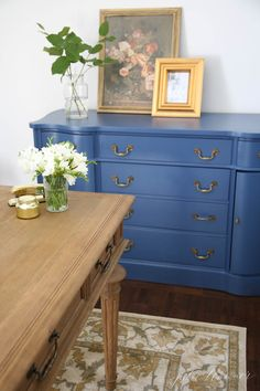 Charming Dresser/credenza Painted With Benjamin Moore VanDuesen Blue. One Of The  Prettiest Blue Paint