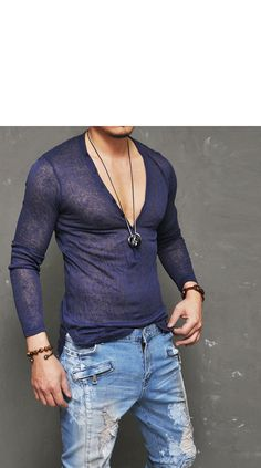 5 Color Holiday Linen Wrinkle Button Sexy Deep V-Knit 103 - GUYLOOK