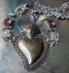 VIOLET HEART vintage assemblage necklace with sacred heart pendant and amethysts by The French Circus, $237.00