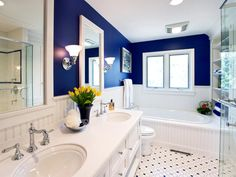 MASTER BATH: Perfect idea for us. Cobalt paint on top, white bottom, love everything else: sink fixtures, floor tile (use cobalt as the colored part), white mirrors (maybe get ones that can also be used as medicine cabinets), white cabinets.
