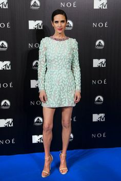 Jennifer Connelly Was the Picture of Spring - Though she was overseas yesterday for the Madrid premiere of Noah, Jennifer Connelly stayed true to her Irish roots, wearing green (albeit pastel) on the red carpet.
