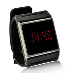 Black Strap and Red LED Wrist Watch with touch screen controllability and also able to display the time and date. Description from ebay.com. I searched for this on bing.com/images
