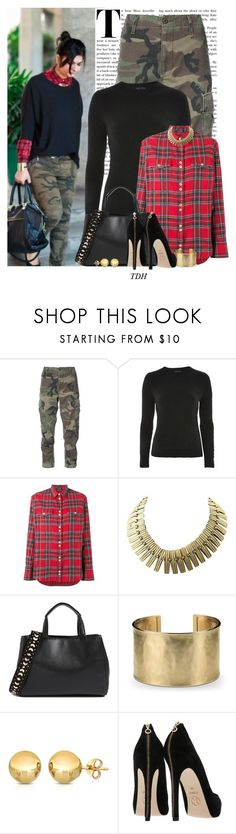 """""""Plaid Shirt"""" by talvadh ❤ liked on Polyvore featuring RE/DONE, Topshop, Balmain, Sam Edelman, Blue Nile, plaid, camo, cargopants and cargo"""