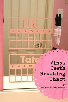 This is GENIUS find from Dukes & Duchesses - vinyl teeth brushing chart that stick to the mirror in the bathroom! Do you use charts for kids chores?