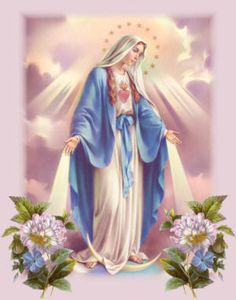 Violeta - Iconografia religiosa - 2674798161_1422f5561f_m+ Blessed Mother Mary, Blessed Virgin Mary, Religious Pictures, Religious Art, Religious Paintings, Madonna, Virgin Mary Painting, Mary And Jesus, Holy Mary