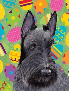 Scottish Terrier Easter Eggtravaganza 2-Sided Garden Flag