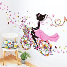 Nuevo 2016 de La Personalidad de Dibujos Animados DIY Bicicleta Chica Mariposa Flores Arte de la Etiqueta Decoración de La Pared Pegatinas Decoración Para El Hogar Wallpaper(China (Mainland))