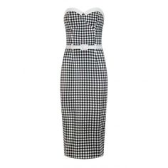 Collectif Mainline Monica Gingham Pencil Dress ($34) ❤ liked on Polyvore featuring dresses, vintage looking dresses, vintage style summer dresses, vintage style white dress, pencil dress and rockabilly dresses