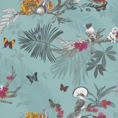 Mystical Forest by Arthouse - Slate : Wallpaper Direct Mystic Wallpaper, Teal Wallpaper, Forest Wallpaper, Glitter Wallpaper, Butterfly Wallpaper, Pattern Wallpaper, Bedroom Wallpaper, Wildlife Wallpaper, Leaf Silhouette