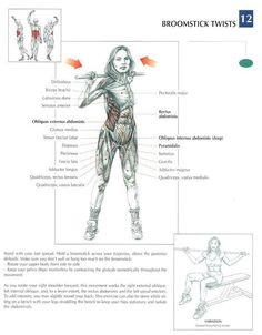 Broomstick Twists ♦ #health #fitness #exercises #diagrams #body #muscles #gym #bodybuilding #abs #abdomen
