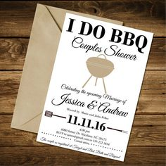 Couples Shower Invitation I Do BBQ Couples by BigSkyDesignLLC