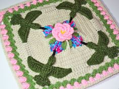 New scenic overlay crochet afghan square.  Hummingbird Garden Party 12 inch Crochet Square by ChelseaCrafter