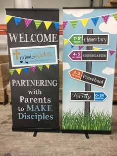 Missio Dei-Falcon uses cheerful Stand-up Banners for Children's Ministry Hospitality and Directional signage.