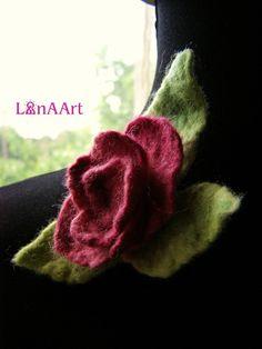 ROSE flower brooch of fine felted merino wool by LanAArt