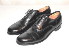 FootJoy Black Leather Dress Oxford Shoes  & Shoe Trees Made in USA Men's 11 E #FootJoy #Oxfords